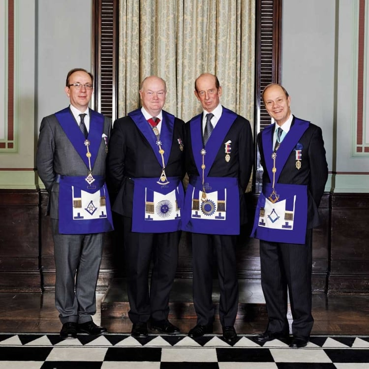 Source Freemasonry today - The Duke of  Kent with  Deputy Grand Master Jonathan Spence ; Pro Grand Master Peter Lowndes and Assistant