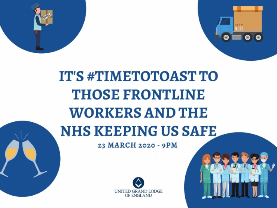 Freemasons invite the whole country to toast 'absent friends, and those working on the frontline in the NHS'